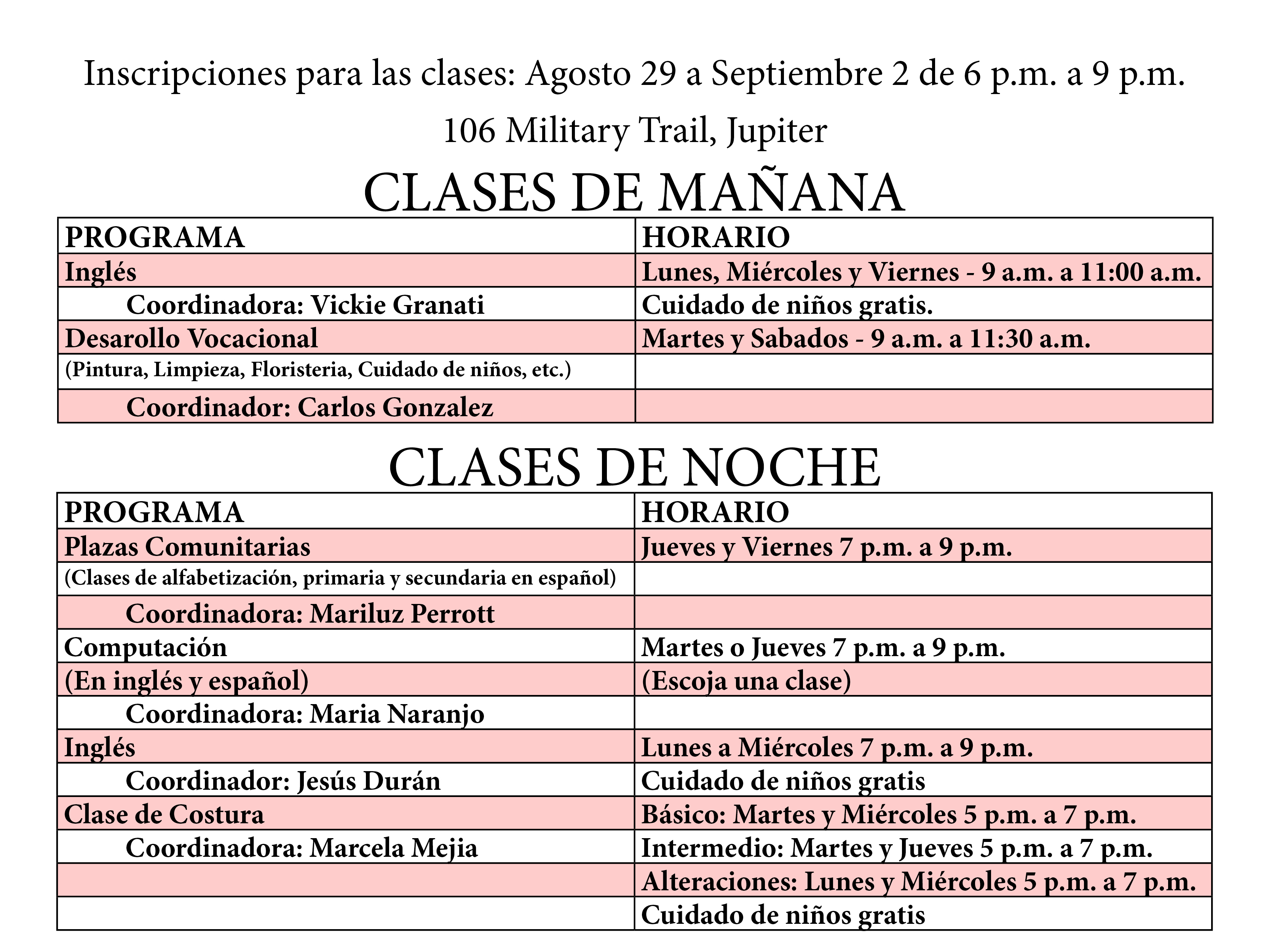 Class Schedule For Web